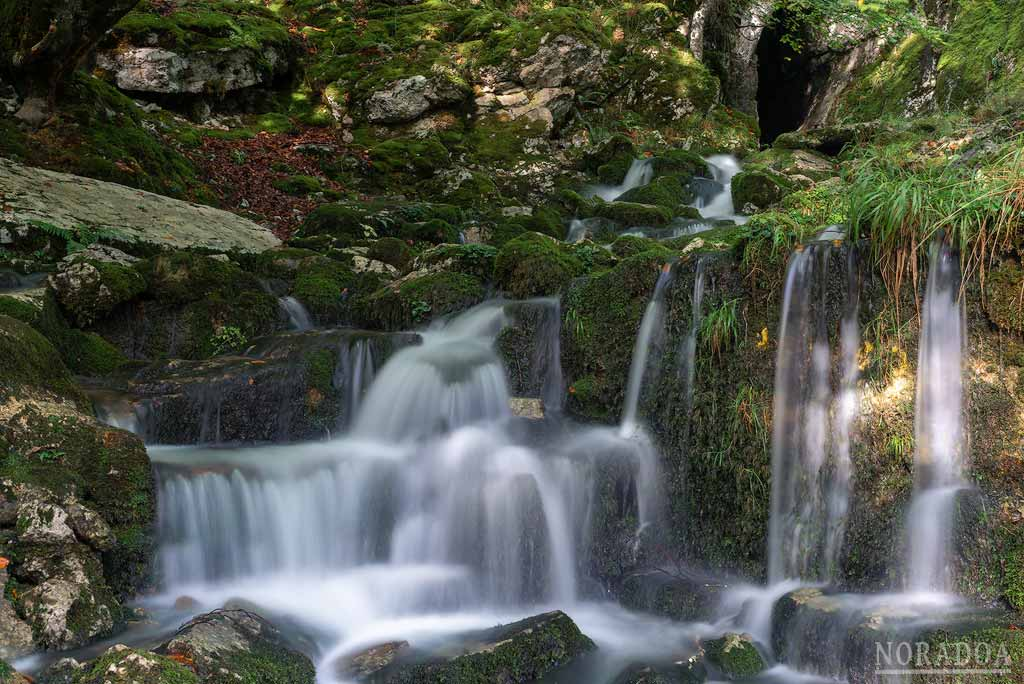 En la entrada de la cueva de Artzegi Cascada que se forma una pequeña cascada